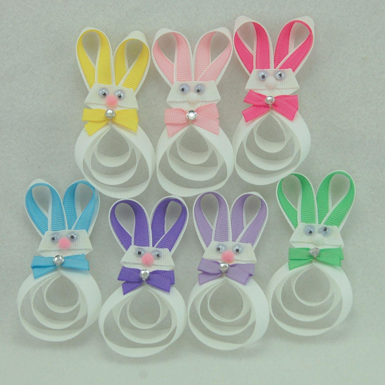 Easter Bunny Hair Clip - Easter Hair Bow - Bunny Ribbon Sculpture - Rabbit Hair Clip - Seven Color Choices. $5.00, via Etsy.