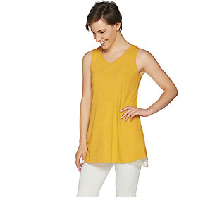 LOGO Layers by Lori Goldstein Cotton Slub Knit Tank with Lace Detail