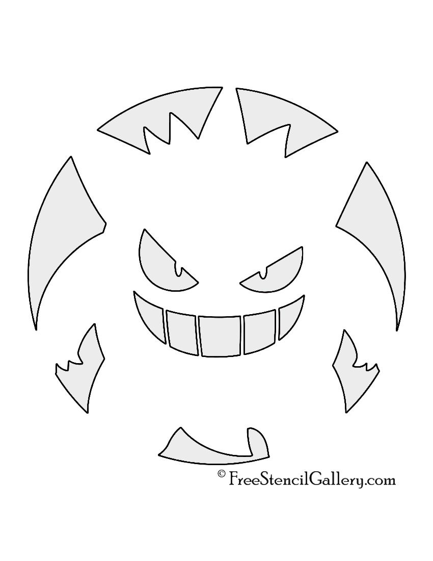 pumpkin template gengar  Pokemon - Gengar Stencil in 7   Pokemon pumpkin, Gengar ...