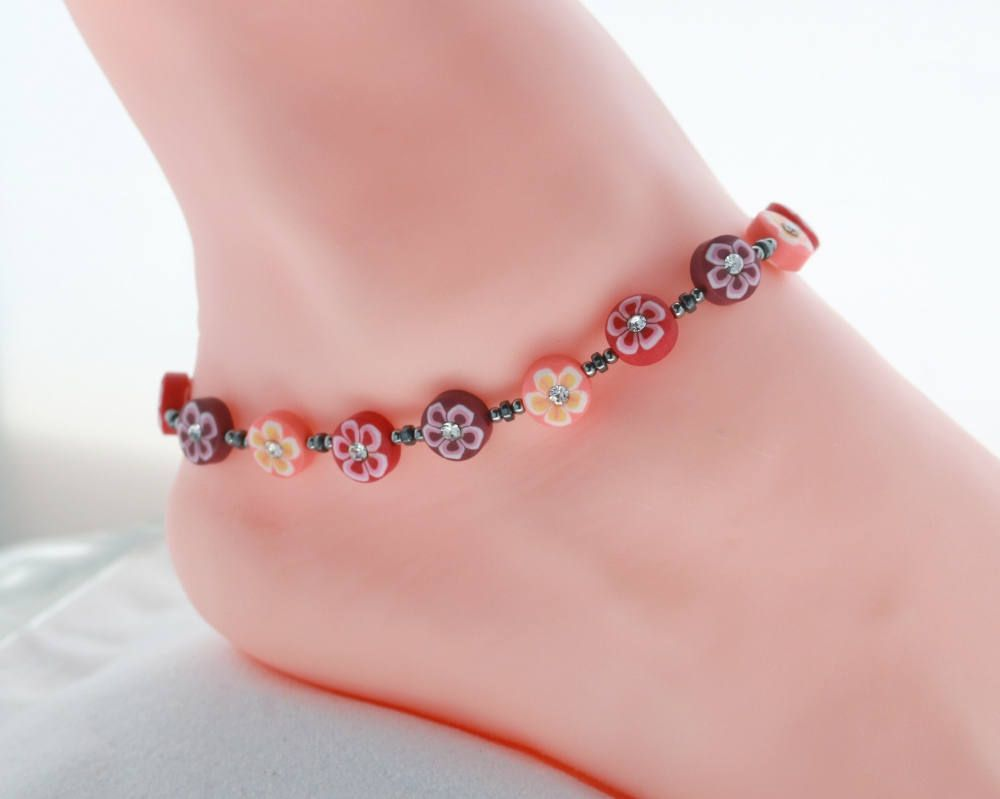 womens double pin beaded gypsy gift bracelet anklets anklet beachy her rose for sister foot peach