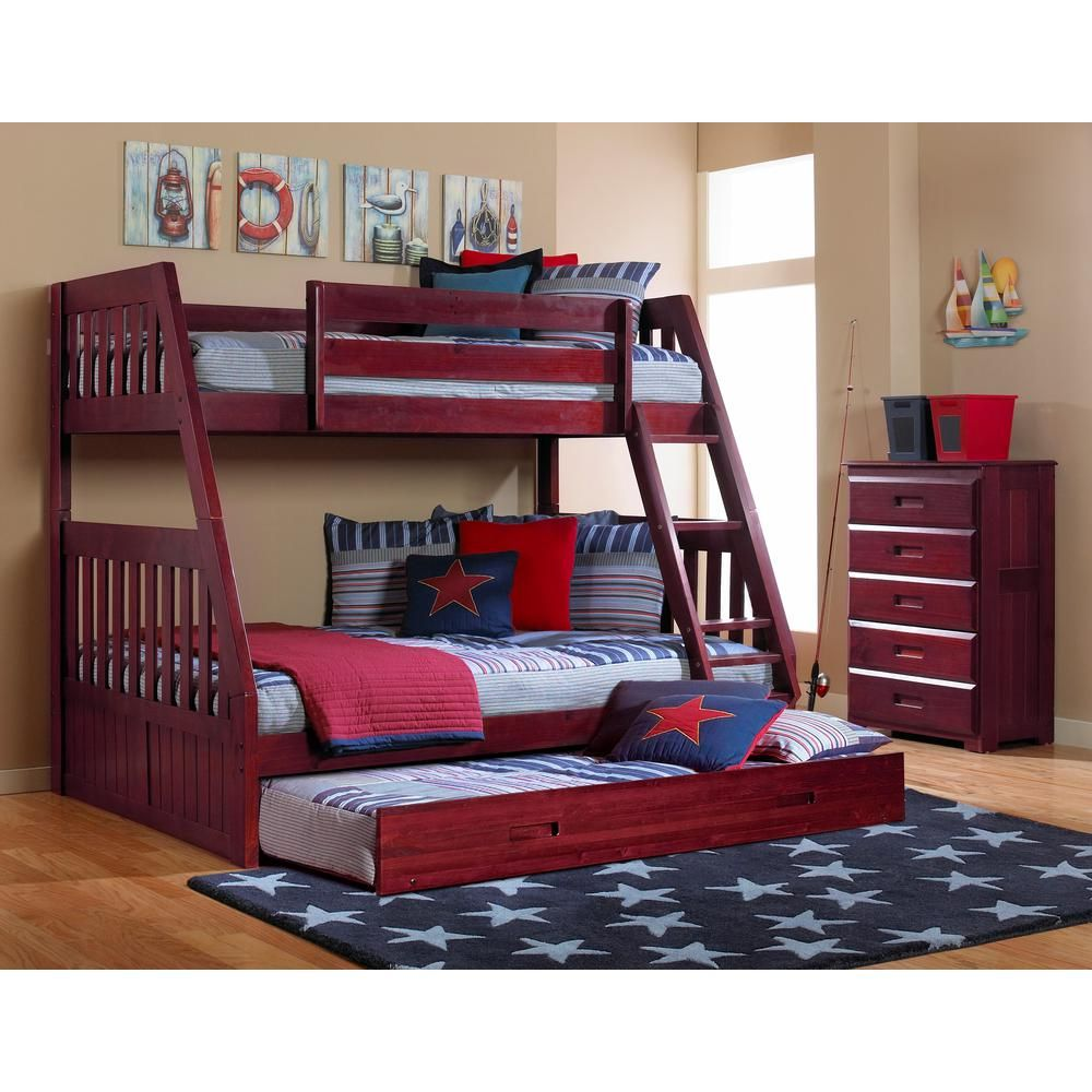 American Furniture Classics Merlot Twin Over Full Solid Pine Bunkbed With Twin Pull Out Trundle 2818 Tfmt The Home Depot Bunk Bed Designs Twin Full Bunk Bed Full Bunk Beds