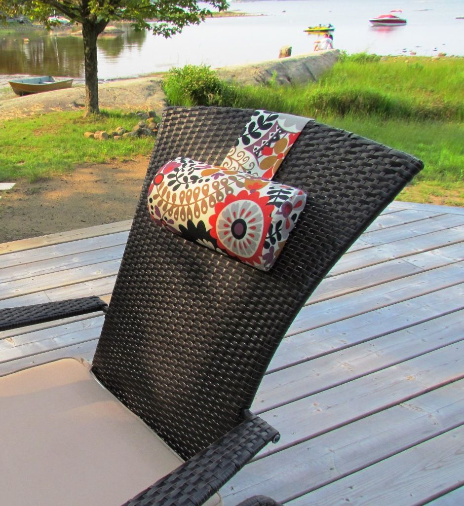 Adirondack chair cushion outdoor sun fabric on the deck at the