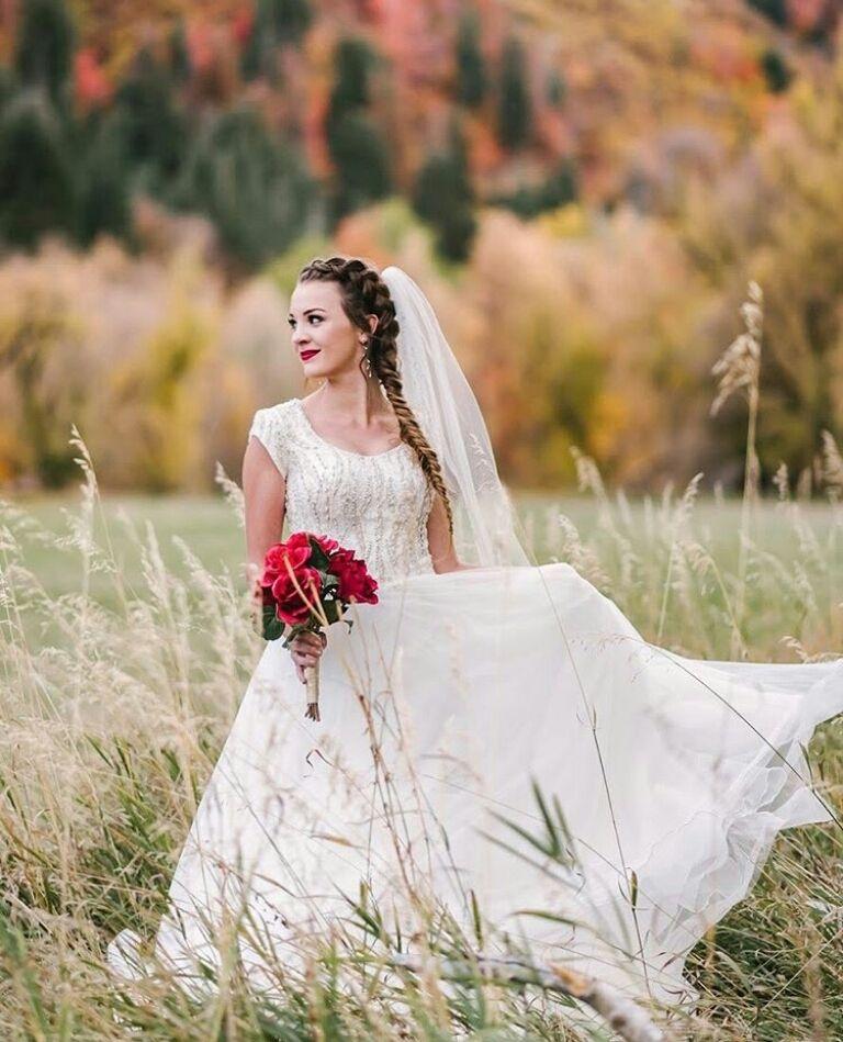 modest wedding dress lds temple wedding aline beaded bodice ...