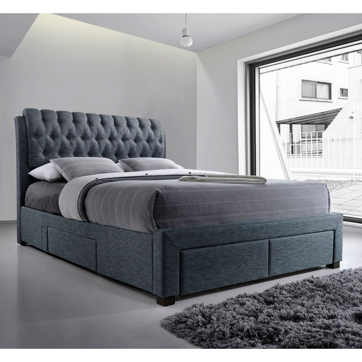 Artisan Button Back Fabric Bed With Drawers Fabric Bed Bed Bed