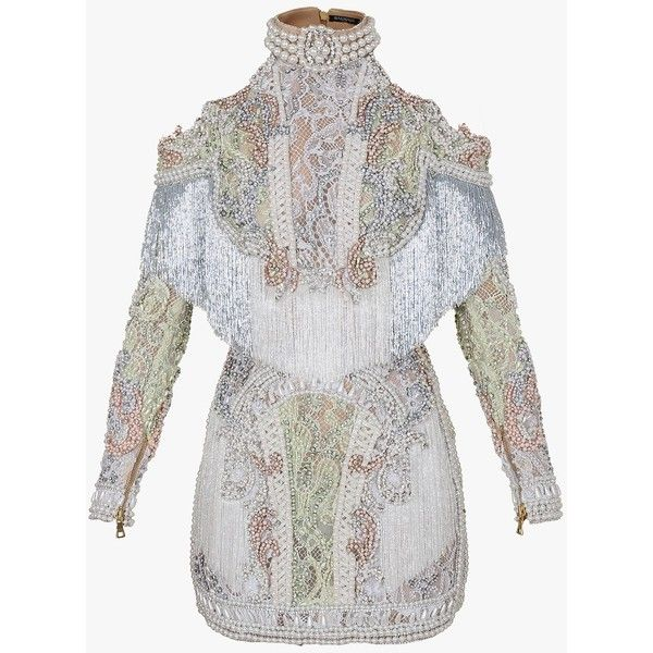 fe7723d6 Embroidered off-the-shoulder mini dress | Women's dresses | Balmain  ($11,970) ❤ liked on Polyvore featuring dresses, balmain, white dress, off  the shoulder ...