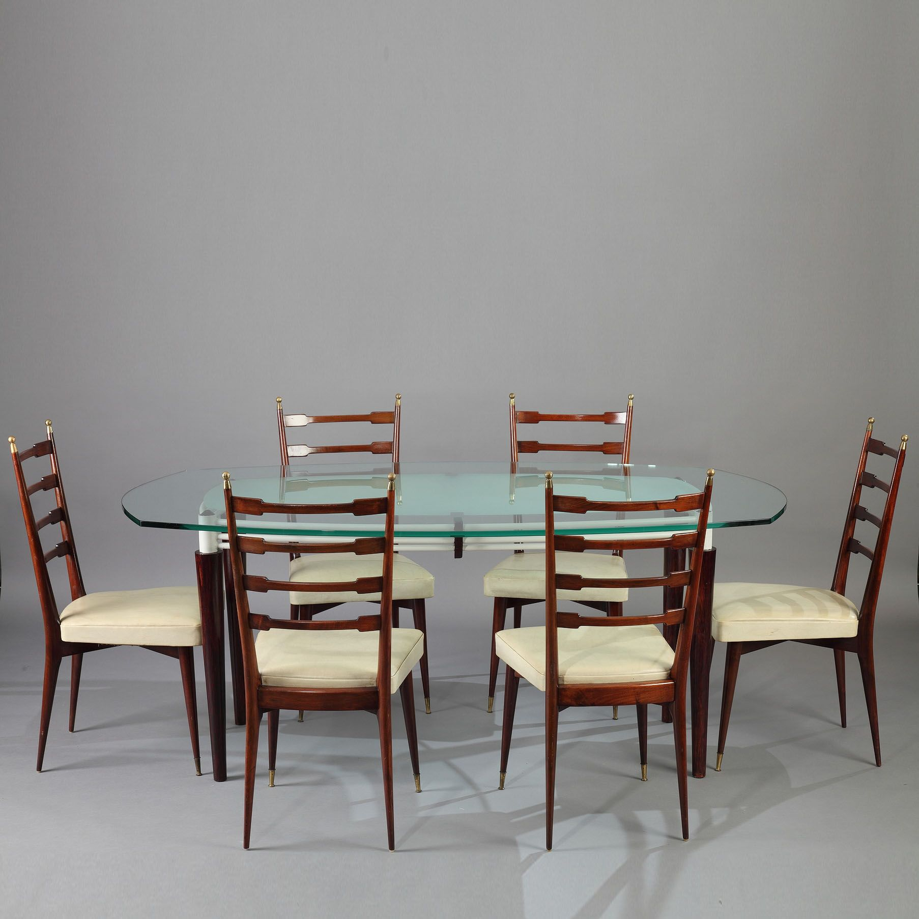 Table Extensible Design Italien mid century italian design dining table and six mahogany