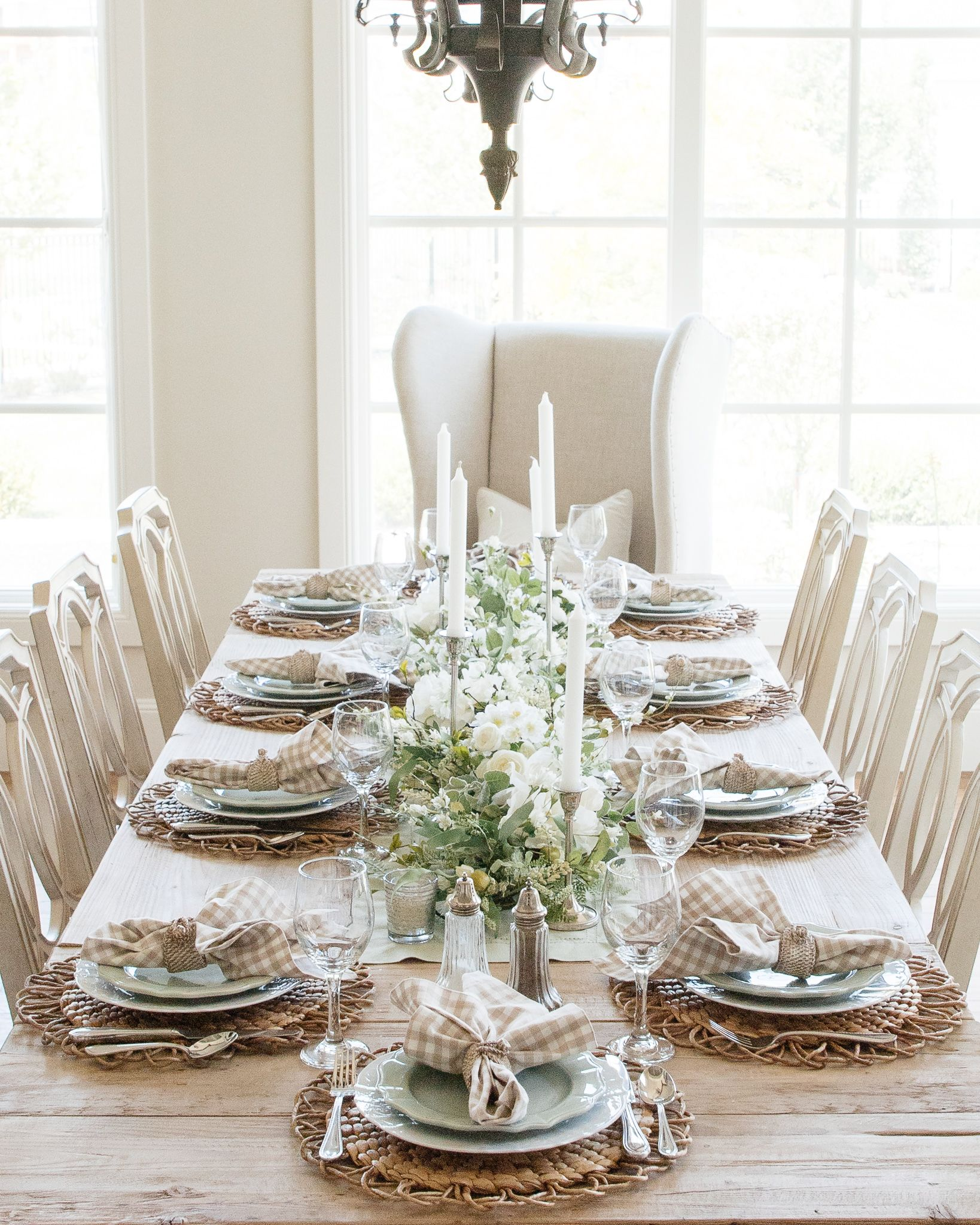 Sage Green And White Fall Transitional Tablescape Dining Room