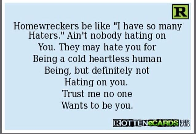 Hate homewreckers ! | Humor | Witty quotes, True stories