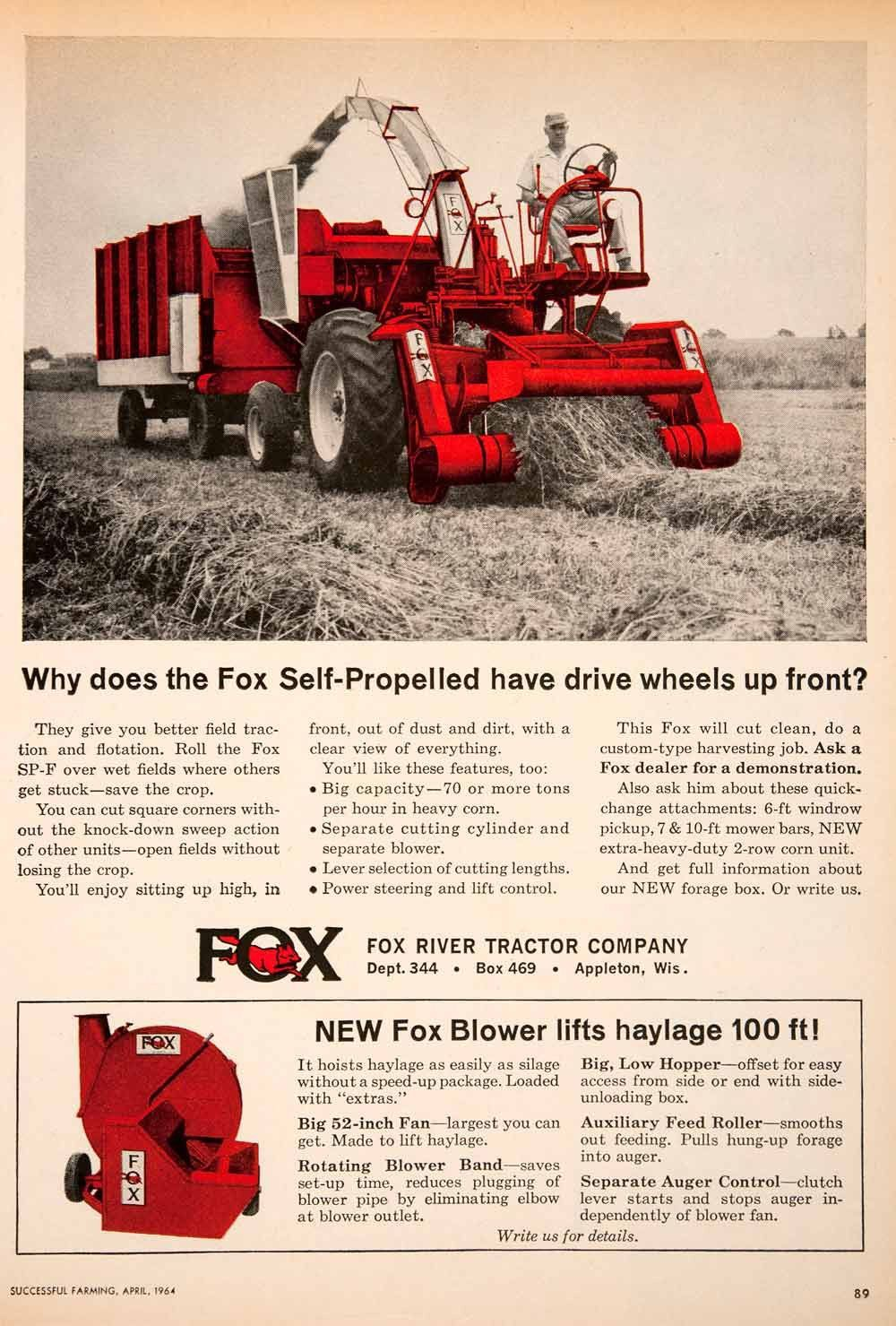 1964 Ad Fox River Tractor Appleton Wisconsin Hay Farmer Blower Machinery SF4