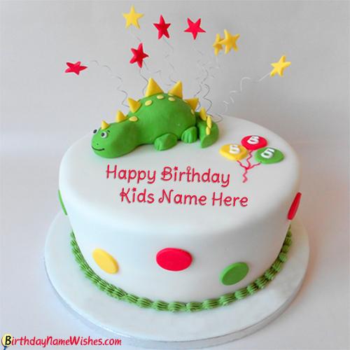 Dinosaur Design Name Birthday Cake For Kids Photo