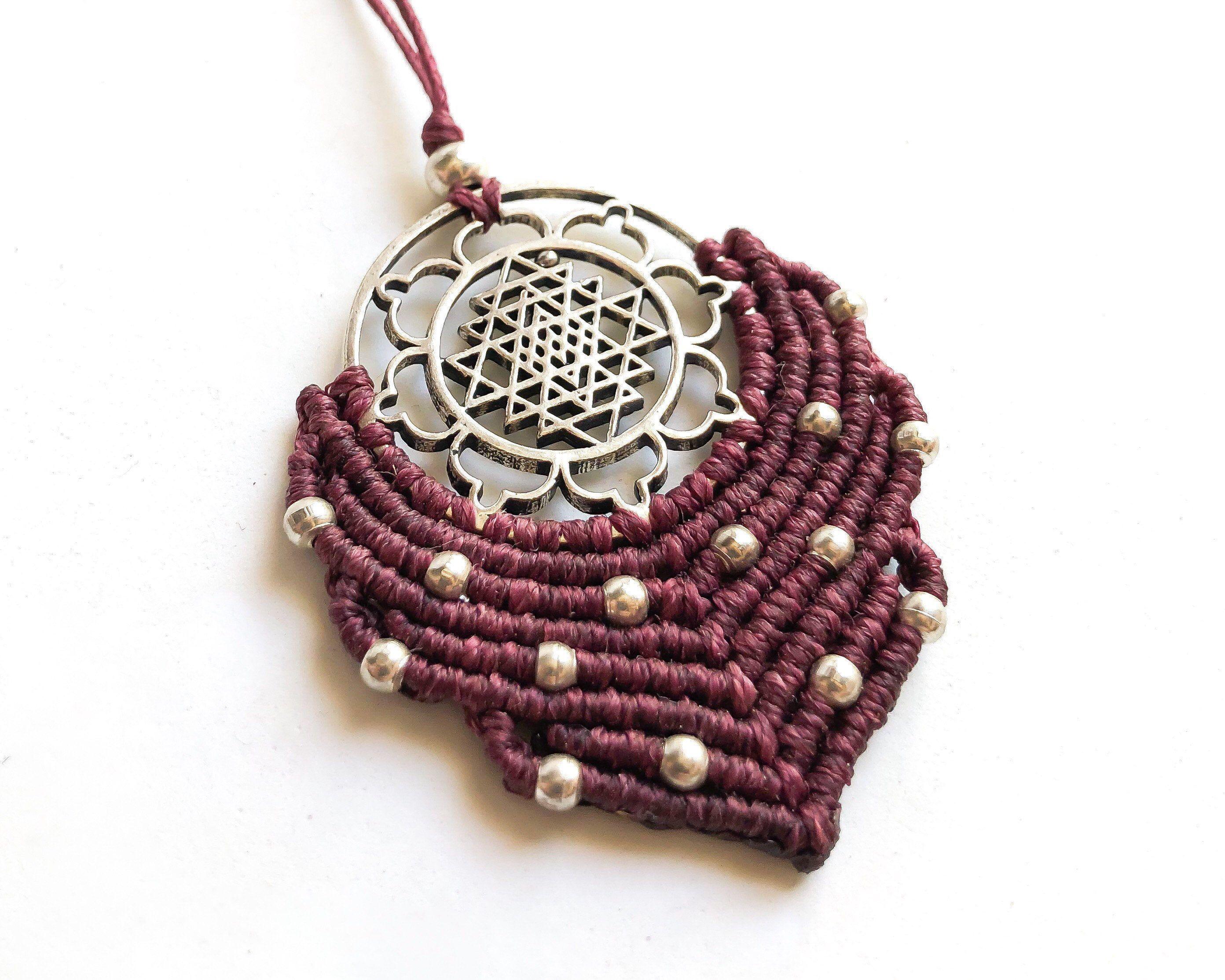 Plum Purple Macrame Necklace Silver Sri Yantra Choker Winter Goddess Jewelry Yoga Wearable Art Sacred Geometry Gift Plum Purple Macrame Necklace Silver Sri Yantra Choker...