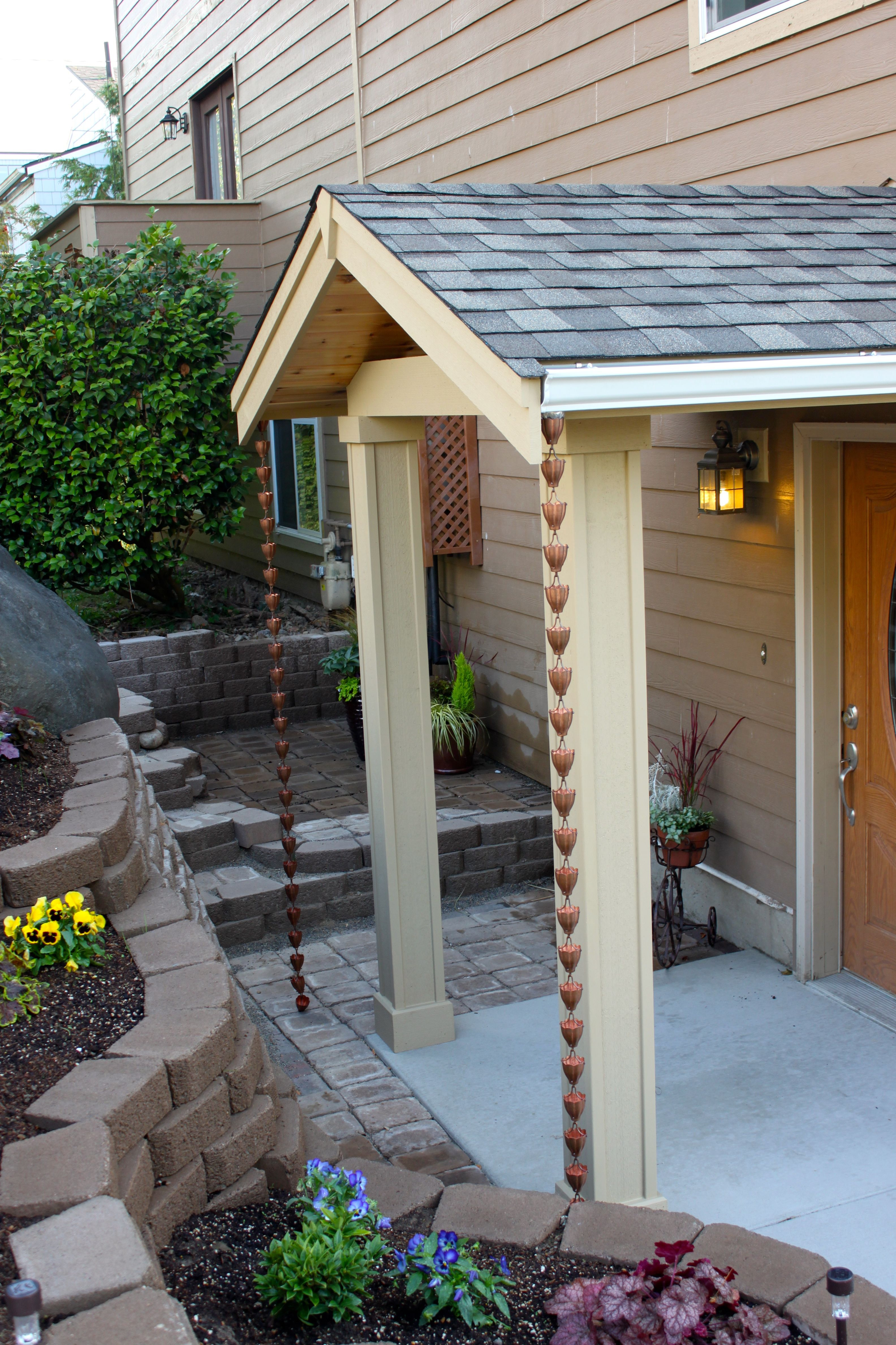 Rain Chains Are A Fun Alternative To Gutters On A Front Entry Backyard Patio Patio House Front