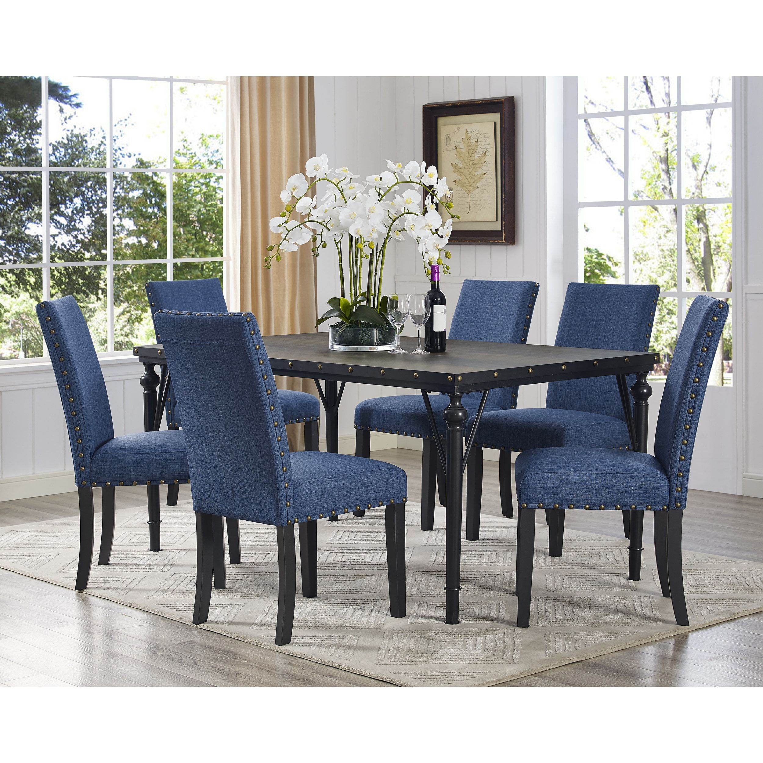 The Curated Nomad Arkin Espresso Wood 7 Piece Dining Set With