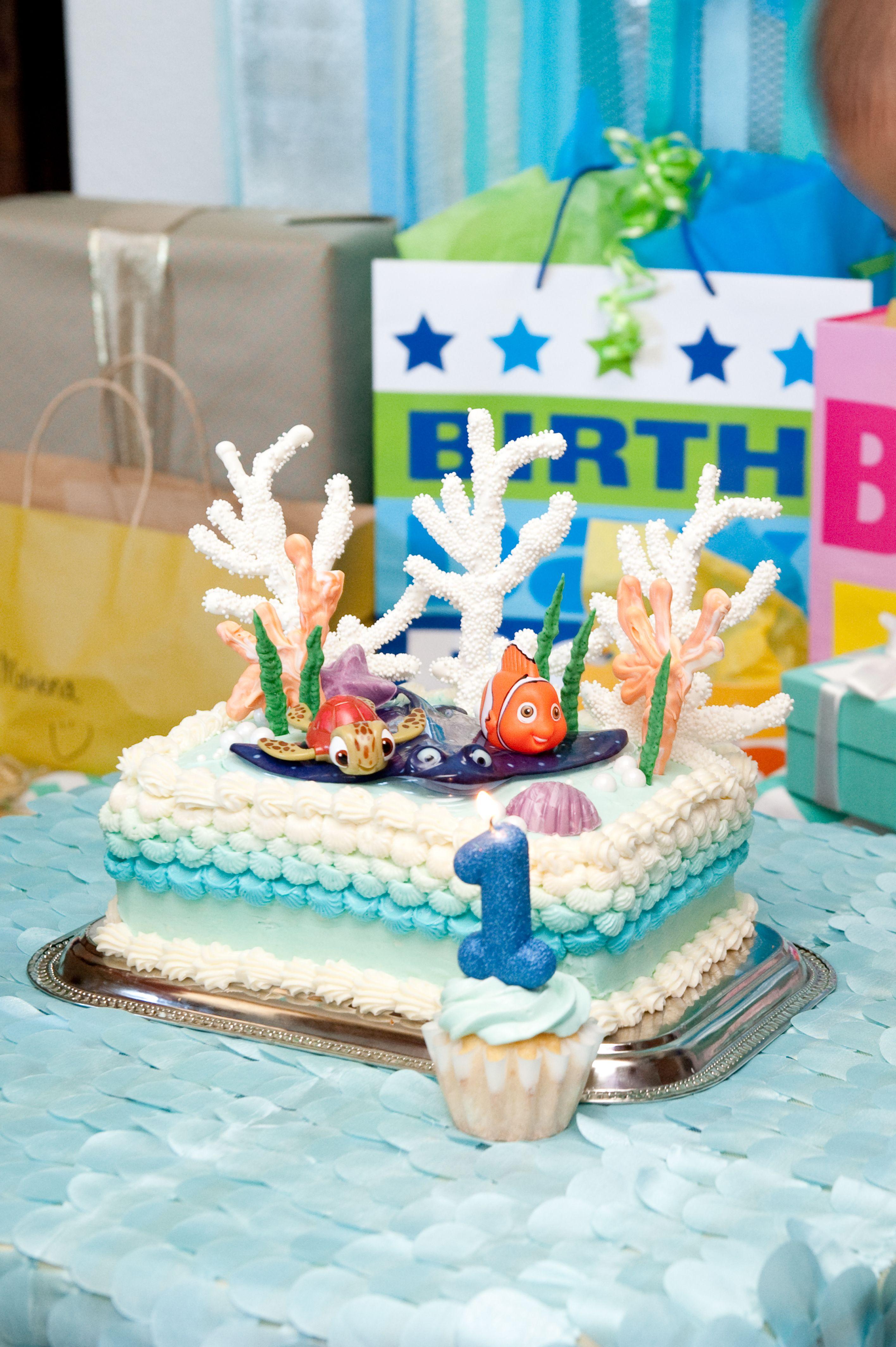 Finding nemo birthday party cake smash cake with white