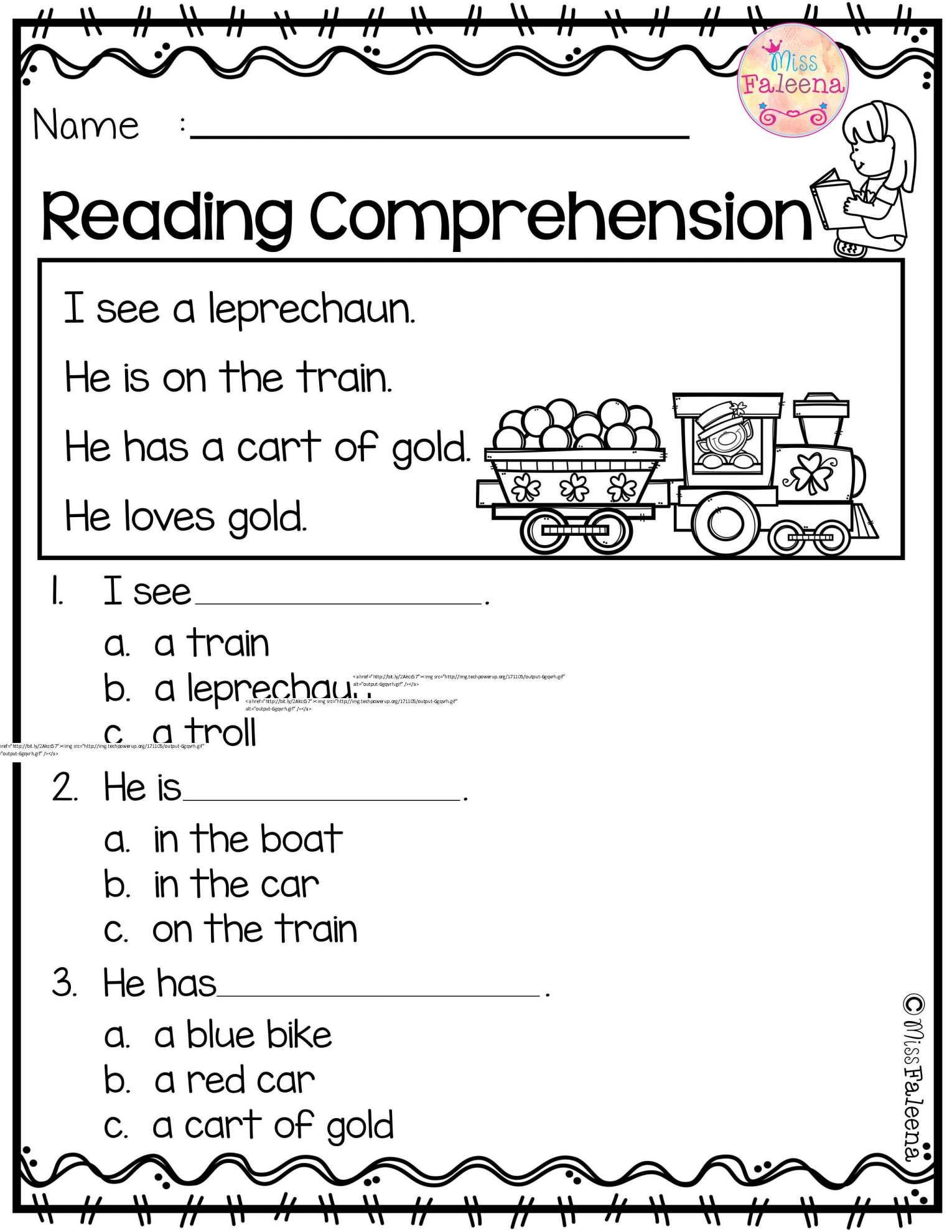8 Kindergarten Fluency Passages With Worksheet