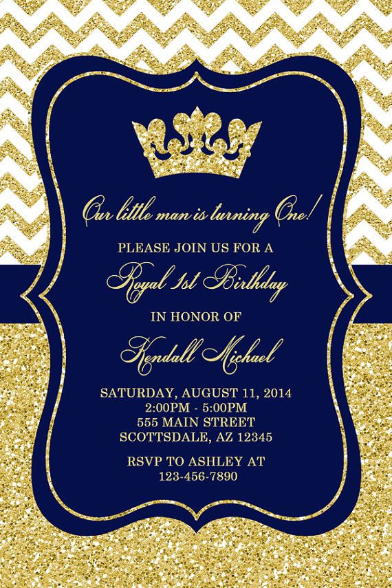 Prince Birthday Party Invitation Royal Blue Gold Birthday