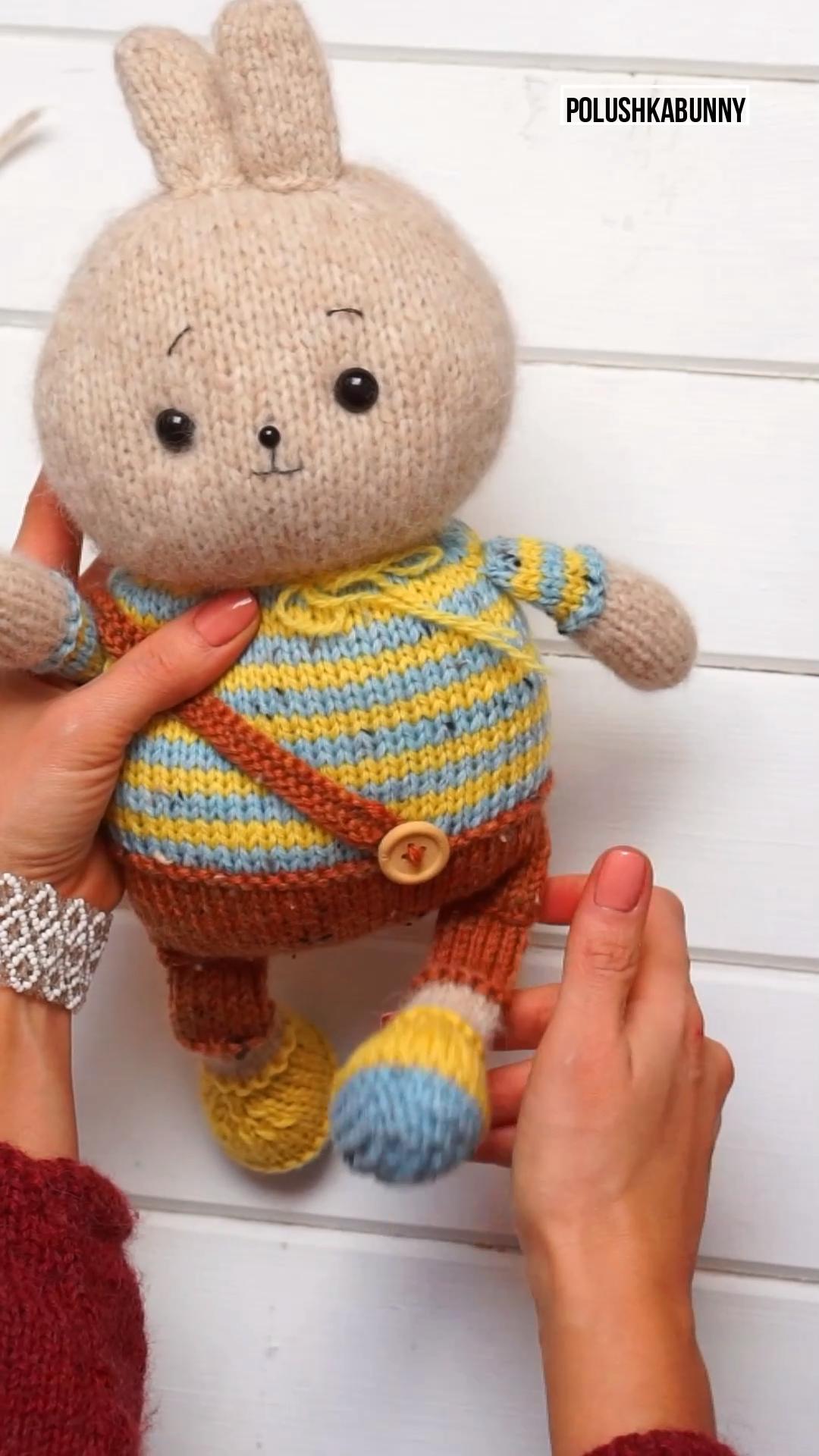 Photo of Knitting Pattern pdf  Funny Bunny Toy by Polushkabunny Muster Strickohrwärmer M…