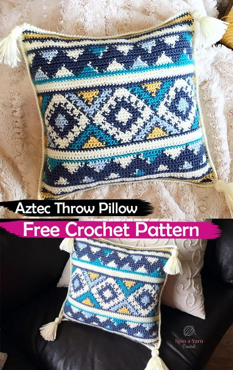 Aztec Throw Pillow Free Crochet Pattern #crochet #crafts #yarn #pillow #homedecor #handmade #homemade #style #idea #aztec