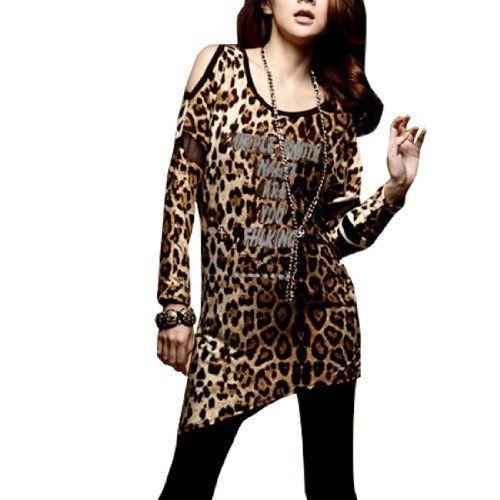 3717b678bc Allegra K Woman Leopard Print Cutout Shoulder Scoop Neck Shirt Top XS Allegra  K.  10.86