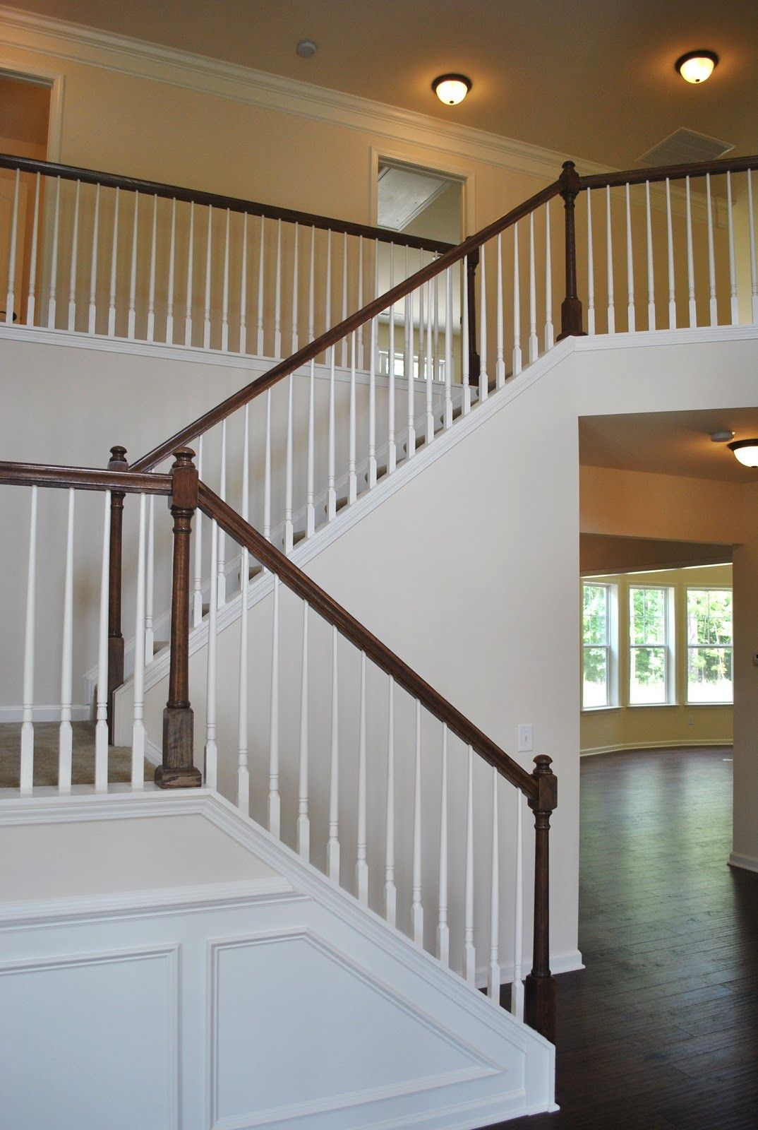 Best White Spindles Up Stairs And Round Landing With Wooden 640 x 480