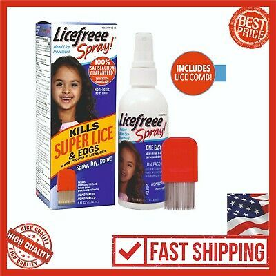 (Ad) Licefreee Spray 6oz Head Lice Treatment Kids Adults, Includes Comb Family Size #headlicetreatment