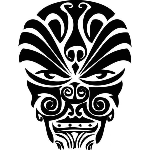 A Cool Face Tattoo Design In Polynesian Style. | Tattoo Designs