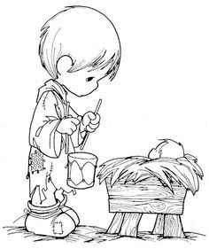 Fun Coloring Pages: boy with a drum Precious Moments coloring pages ...