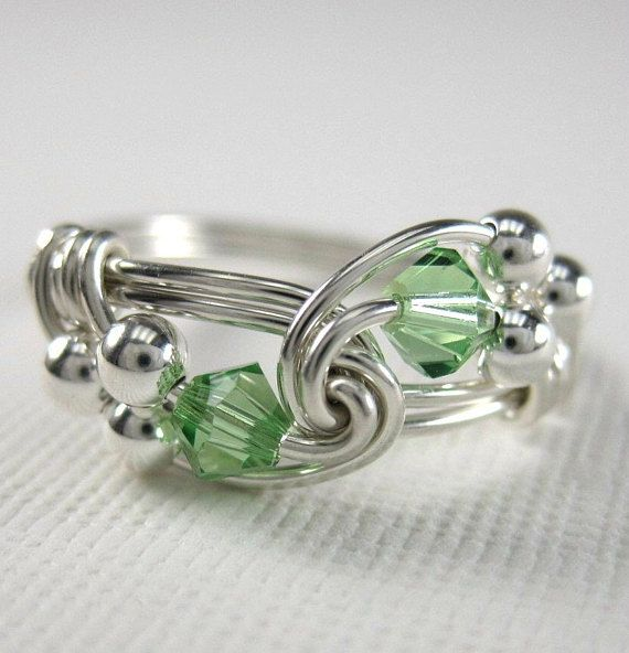 c256bfd47 Personalized Birthstone Jewelry Peridot Ring Wire Wrapped Sterling Silver  Duet -- shown in August Birthstone Peridot. Ive wrapped sterling silver wire  into ...