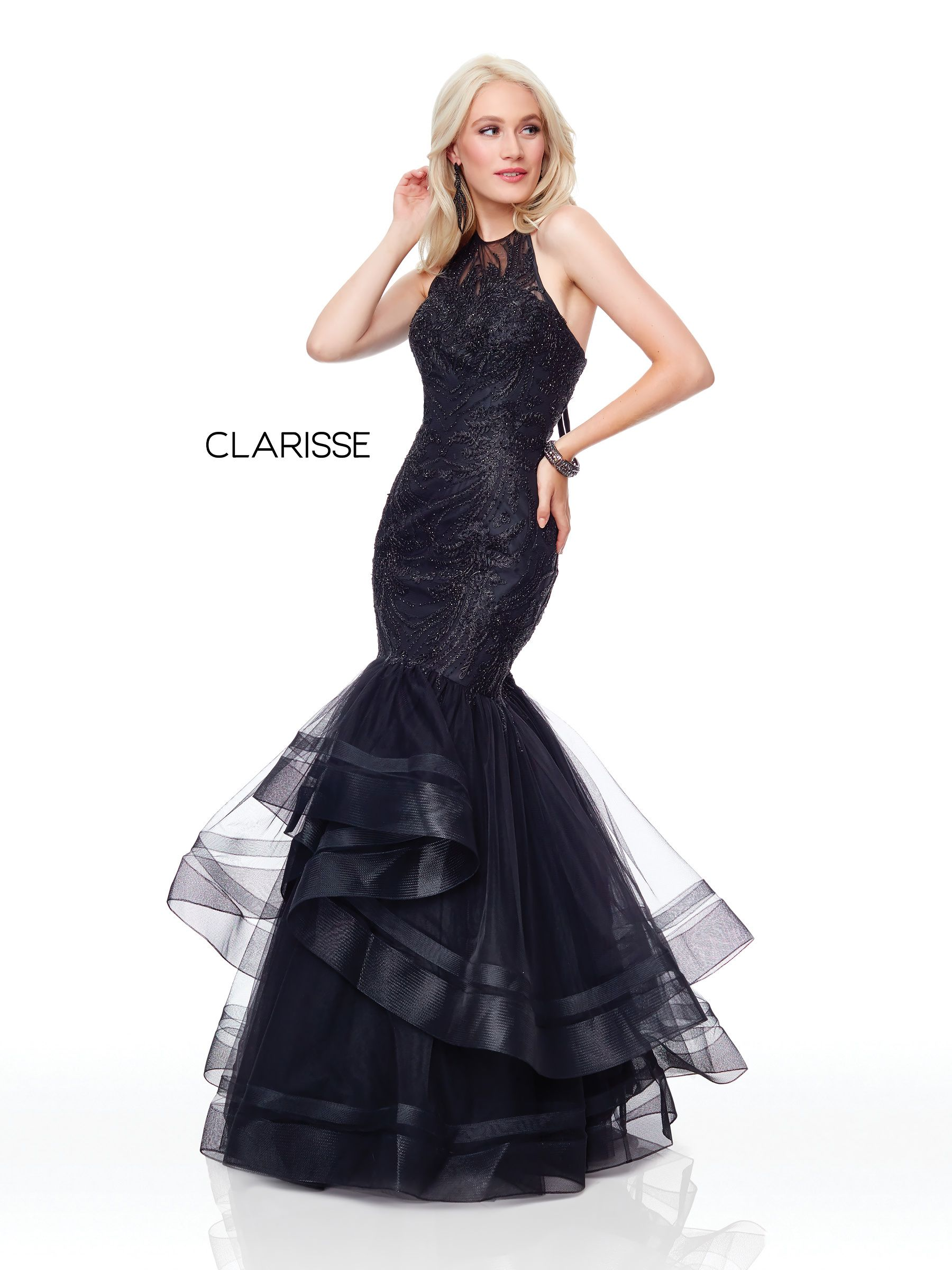 4b14c7201ef 5016 - Black fit to flare prom dress with a lace top and tulle bottom