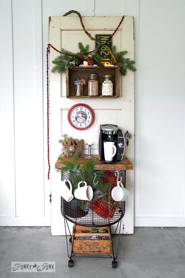 Vintage cart beverage station for Christmas on  / FunkyJunkInteriors.net