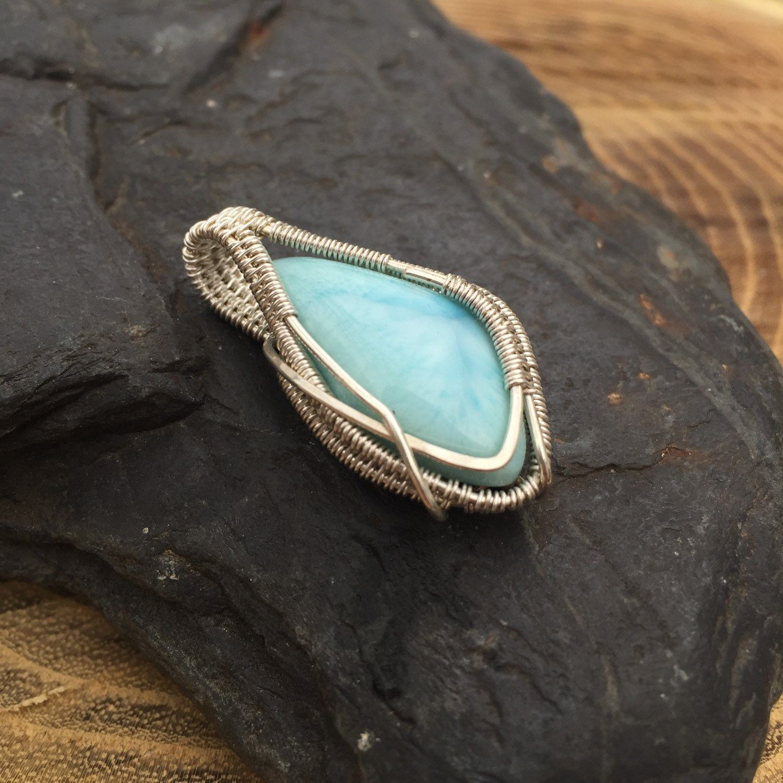 Wire Wrapped Pendant, Larimar Pendant, Wire Wrap, Larimar Jewelry ...