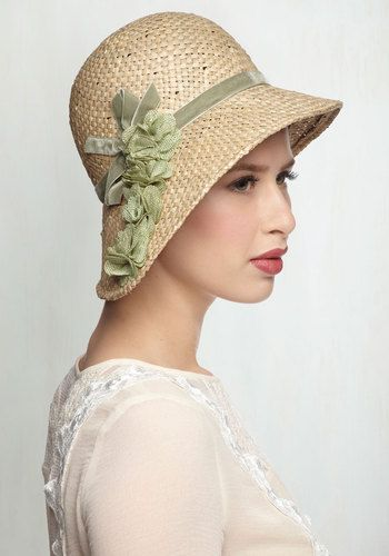 Lovely Edwardian era hat. Downton Abbey hat. Pure Edith Hat in Green  44.99  AT vintagedancer.com b77277458859
