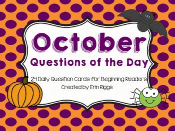 Fun seasonal questions of the day for the month of October that can be answered with a simple yes or no.  Picture clues make this a perfect, quick activity for beginning readers.  I use these in my classroom as part of our daily morning routine.  This makes it an easy way to check and see who is absent for the day.