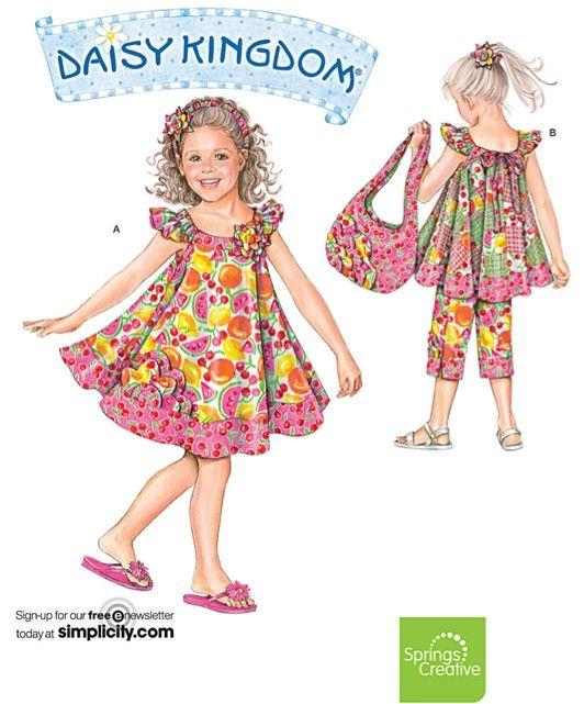 DAISY KINGDOM Sewing Pattern - Girls Dress Top Capri Pants Tote Bag ...