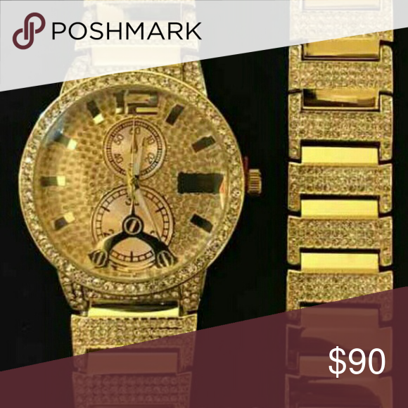 14K GOLD PLATED ICED OUT WATCH BRACELET New Accessories Watches