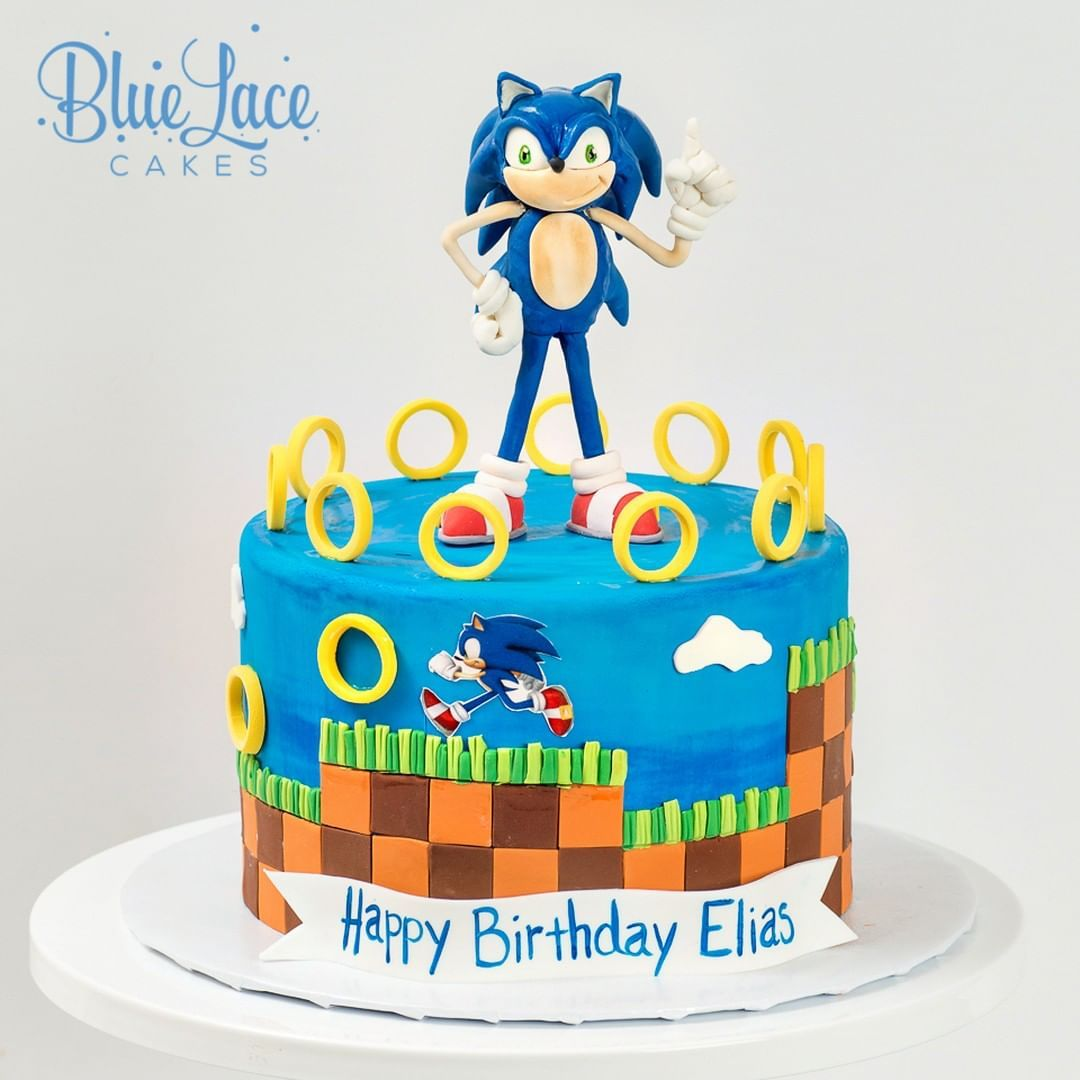Cool Sonic The Hedgehog Birthday Cake Made By Blue Lace Cakes With Funny Birthday Cards Online Bapapcheapnameinfo
