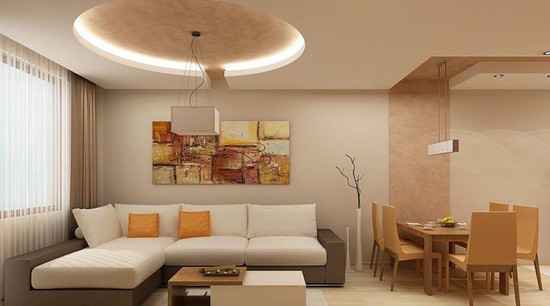 led-beleuchtung-wohnzimmer-ideen-verschiedene-lichtquellen-raum - abgeh ngte decke wohnzimmer