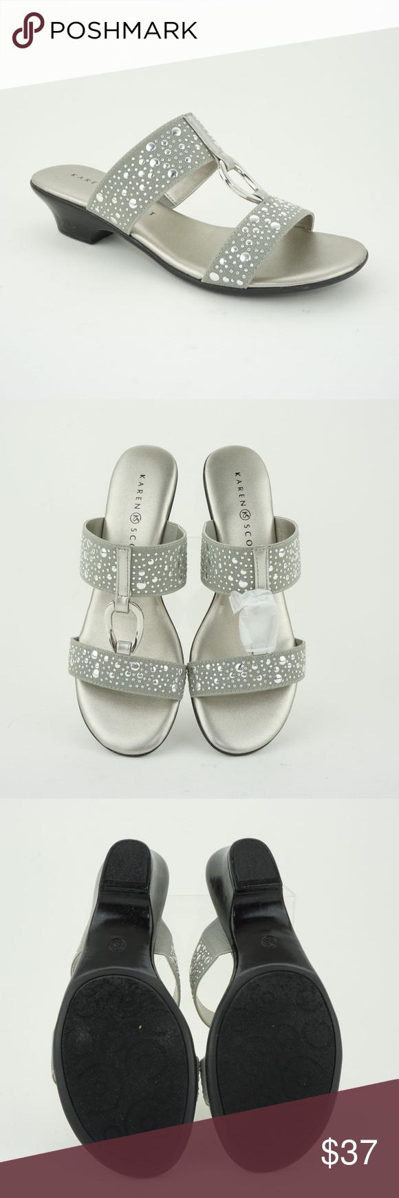 ad14c3d684c5b Karen Scott Eanna Slip-On Sandals Silver Karen Scott Womens' (Sz 6.5 ...