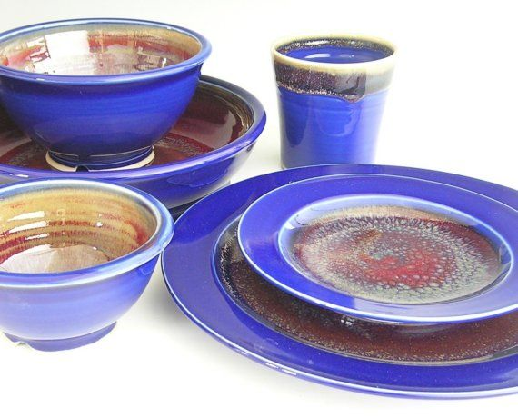 Ceramic Dinnerware Set Made to Order by clearmountaincraft, $150.00 This made to order custom dinnerware set will bring your tabletop to life and wow your guests. Each set is hand thrown, glazed and fired by me in my home studio. This dinnerware set is glazed with my Cobalt Blue, Honey Yellow and Copper Red combination. I love this set! This listing is for ONE set but can be ordered in any quantity.