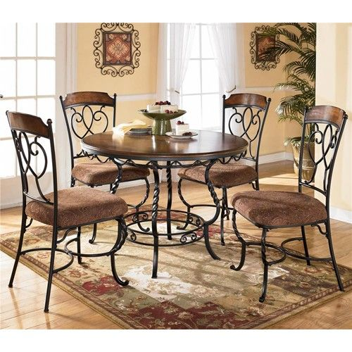 Ashley Furniture Normandy 5 Piece Wood And Metal Table And 4