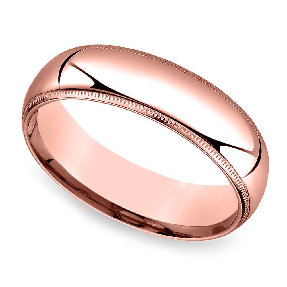 MidWeight Milgrain Men's Wedding Ring In Rose Gold (6mm