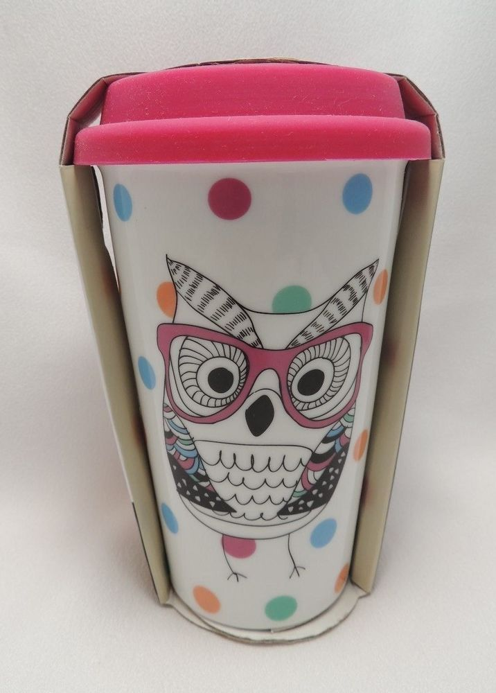 Ciroa Ceramic Travel Coffee Mug Party Owl Pink Silicone Lid 10 Oz Reuse Me Double Walled Insulated Porcelain With Spill Proof