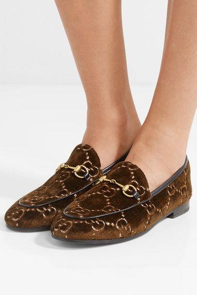 ff8de7e0c4b Gucci - Jordaan Horsebit-detailed Leather-trimmed Velvet-jacquard Loafers -  Brown
