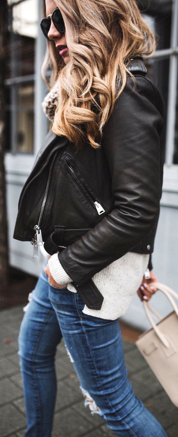 Cute spring outfits / Black Leather Jacket / Cream Knit