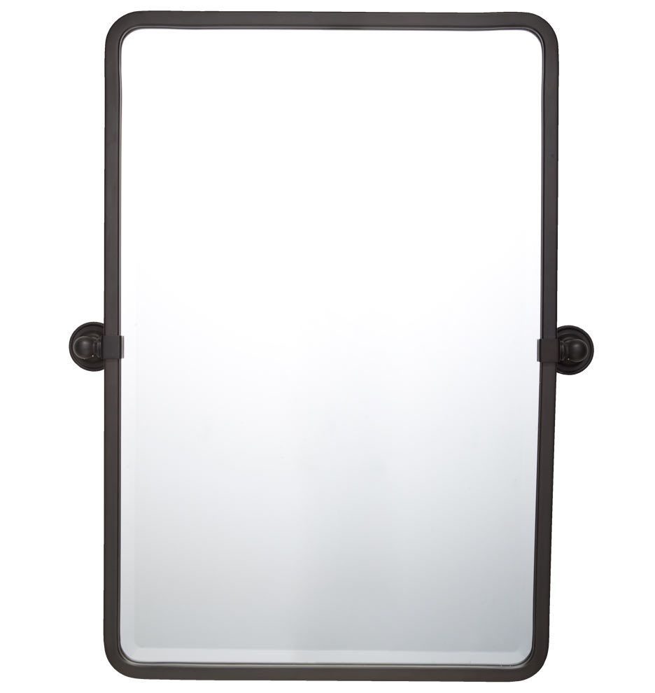"Bathroom Mirrors Bronze landry pivoting rounded rectangle mirror 32"" tall - oil-rubbed"