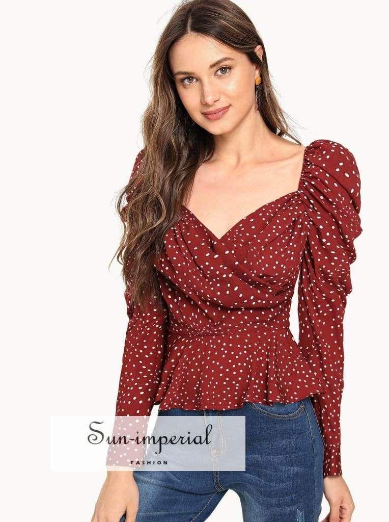 f0b403893fa39 Color: Burgundy Style: Elegant, Glamorous Collar: Sweetheart Sleeve Length:  Long Sleeve
