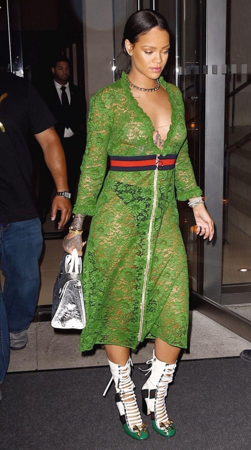 Rihanna In A Gucci Shear Dress Rihanna Style Gucci Dress Rihanna Street Style [ 1520 x 849 Pixel ]