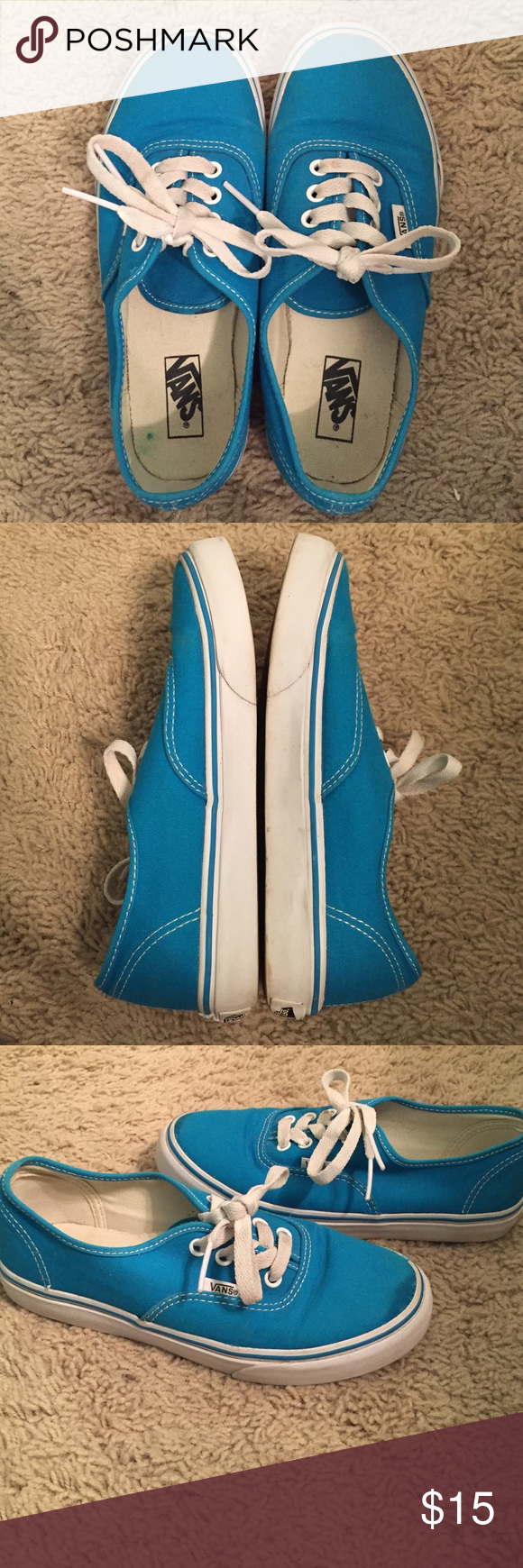 Vans US size 2 kid vans. in great condition. worn a few times and can tell a little. small stain on left tongue. got them like this when I ordered them. the mark on the top of the shoe in 3rd pic is not a stain it's water from cleaning Vans Shoes Sneakers
