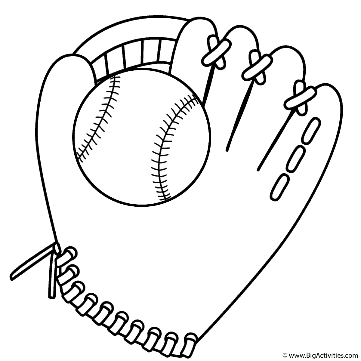 Baseball Glove And Ball Coloring Page Sports Baseball Glove Baseball Coloring Pages Baseball Card Template