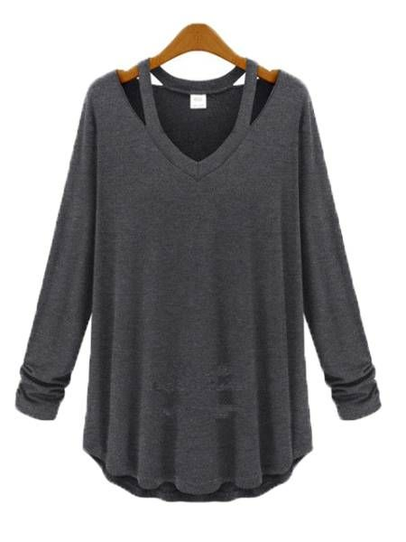 d19d38047f0a71 Women Sexy V Neck Hollow Off Shoulder Long Sleeve Loose Blouse ...